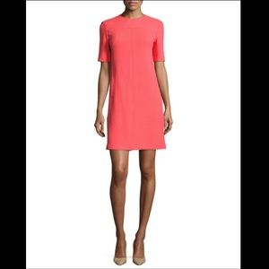 LELA ROSE Half-Sleeve Tunic Dress in Coral 2